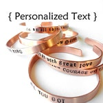 Personalized Copper Bracelet - - hand stamped jewelry bangle cuff, custom Bracelet Unisex adjustable, gift, handmade