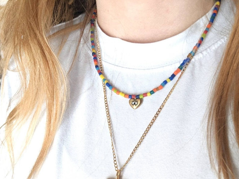 evil eye necklace Beaded necklace gold eye necklace