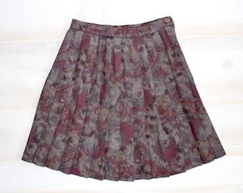 Vintage 90s Pleated Skirt, 1990s High Waisted Skirt, Mini, Floral, Flower Print, Boho, Goth