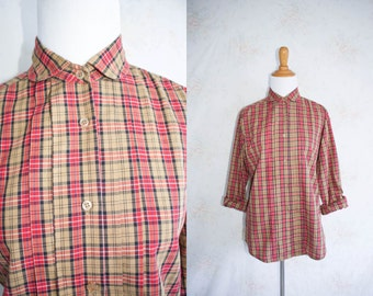 Vintage 80s Plaid Button Up Shirt, 1980s Tartan Blouse, Peter Pan Collar