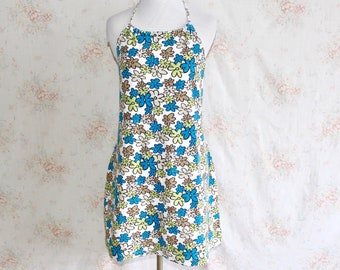 18d0cd1ea4460 Vintage 70s Terry Cloth Dress, 1970s Daisy Flower Print Dress, Floral, Beach  Cover Up, Halter Dress