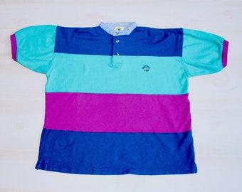 d5de4845da Vintage 90s Colorblock Shirt, 1990s Striped Shirt, Bright Shirt, Colorful  Shirt, Hipster Shirt, Short Sleeve