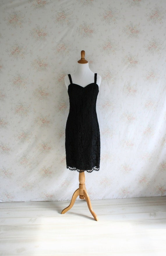 Vintage 80s Lace Dress 1980s Black Dress Scalloped Lace  6d0db5d9d
