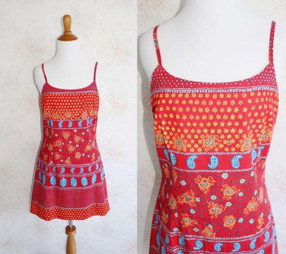 Vintage 90s Bandana Dress, 1990s Slip Dress, Spagh