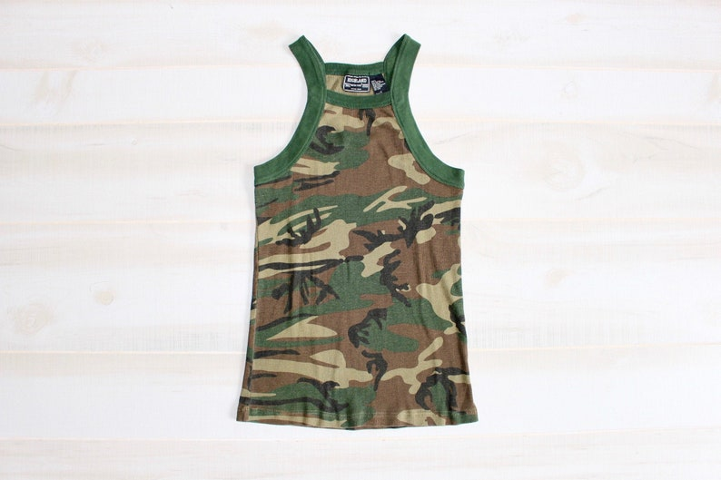 cf8c707e551 Vintage 90s Camo Tank Top, 1990s Camouflage Shirt, Army Tank Top, Military  Tank Top, Streetwear, Ribbed Tank Top