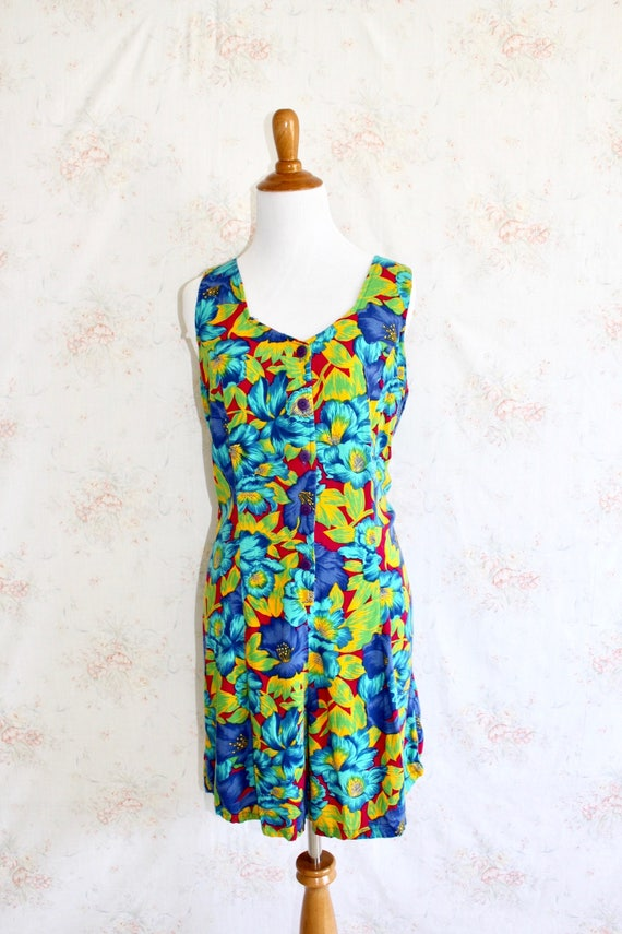 2d504934c62 Vintage 90s Hawaiian Romper 1990s Flower Print Jumpsuit