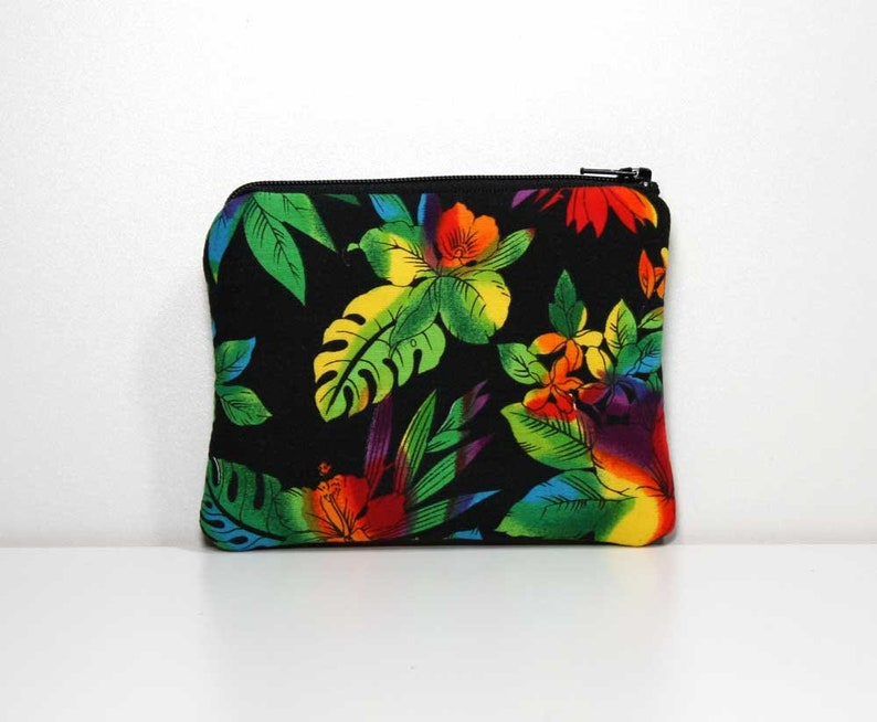 Tropical Flowers on Black Small Zipper Pouch with Key Ring or Wrist Strap Small Card Case Small Pouch Zipper Coin Purse Ready to Ship