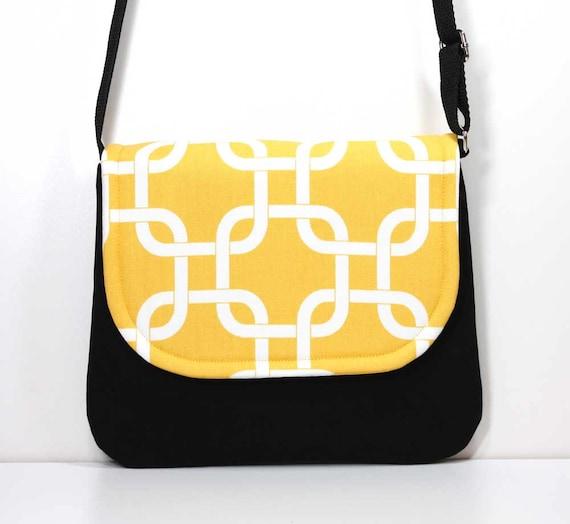 f1e2bc9acb00 SALE Small Foldover Crossbody Bag Yellow and Black Small