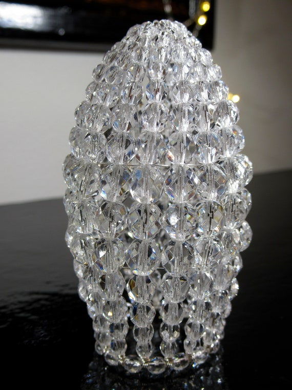 Small Faceted Glass Beaded Light Bulb Cover, Chandelier Shade, Sconce Shade, Candelabra Shade, Shabby Chic Lamp Shade