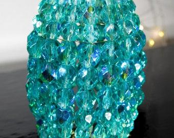 Small Aquamarine Iridescent Glass Beaded Light Bulb Cover, Chandelier Light Shade, Sconce Shade, Candelabra Lighting, Lamp Shade