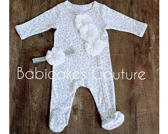 Newborn Girl Take Home Outfit, Gray Baby Girl Footie & Headband Set, Gray Baby Footie, Gray Cheetah Footie Set, Gray Newborn Footed Romper