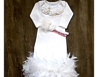 Feather Christening Gown and Headband, White Satin Rosettes and Rhinestone Cross Baptism Gown, Dedication Gown, After Christening Outfit