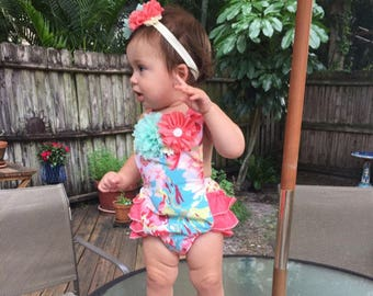 Ruffled Baby Romper, Baby Girl Romper & Headband Set, Mint and Coral Floral Romper, BOHO Baby Romper, Summer Baby Girl Romper, Baby Sunsuit