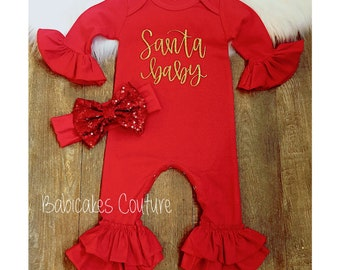 557442810 Babys First Christmas Outfit, Red Santa Baby Newborn Ruffle Romper, Newborn  Holiday Outfit, Santa Baby Outfit, Red Romper, Christmas Baby