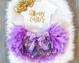 Bunny Bodysuit Feather Easter Bunny Outfit Feather Diaper Cover Egg Hunt Easter Feather Bloomer 1st Easter Outfit Rainbow Easter Outfit