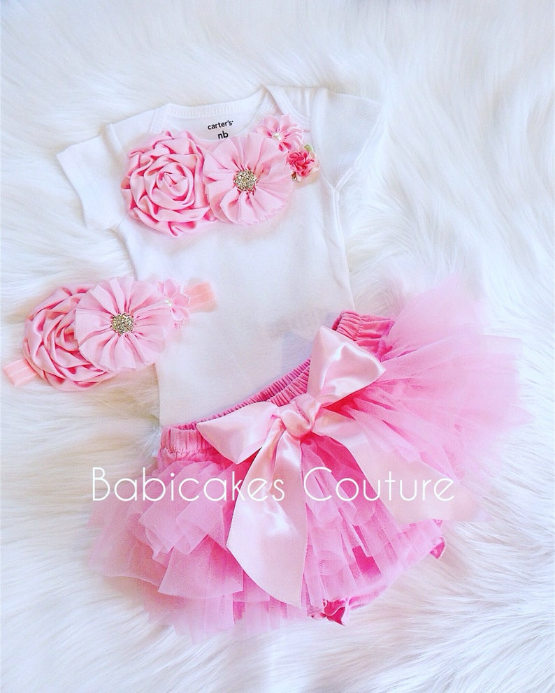 ba8d735fc3f8 Baby Girl Tutu Outfit Newborn Girl Outfit Pink and White