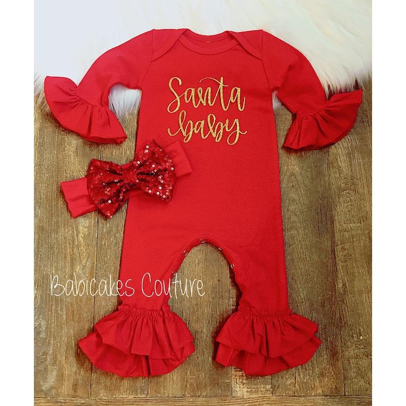 4e83ceeca Babys First Christmas Outfit, Red Santa Baby Newborn Ruffle Romper, Newborn  Holiday Outfit, Santa Baby Outfit, Red Romper, Christmas Baby
