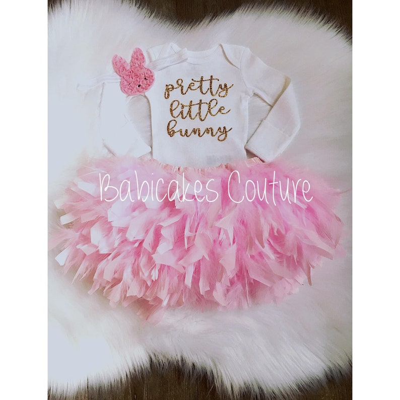 Newborn Easter Bunny Outfit Babys 1st Easter Outfit Pretty Little Bunny Feather Easter Dress Easter Photo Outfit Feather Bunny Outfit