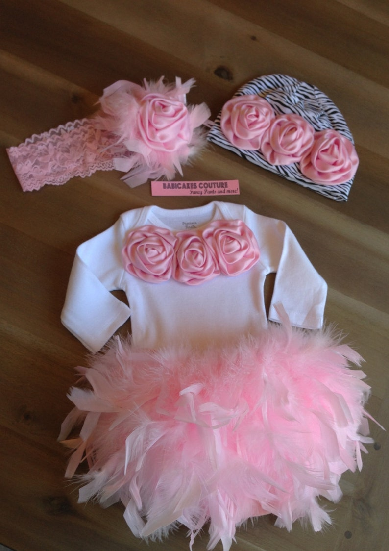 a4cea560dad4 Newborn Girl Take Home Outfit Feather Couture Outfit Bloomer