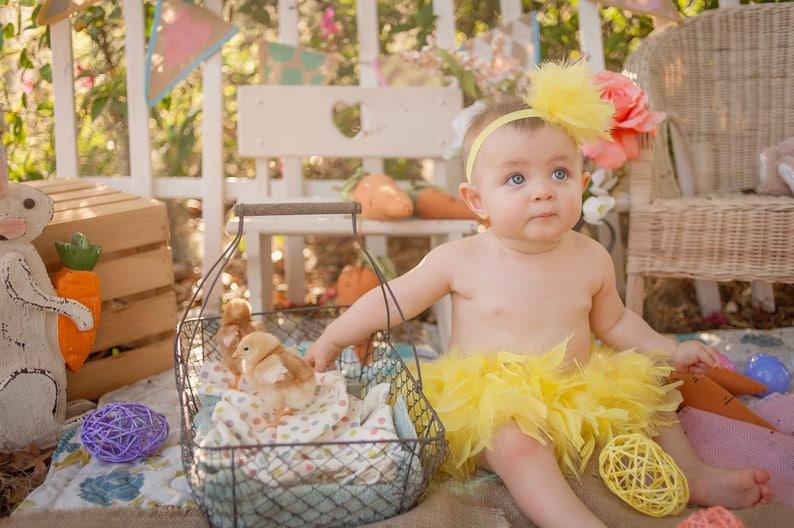 Babys 1 Ostern Baby Ostern Outfit Original Gelbe Feder Bloomer Feder Bloomer Feder Windel Coverk Feder Tutu Ostern Küken