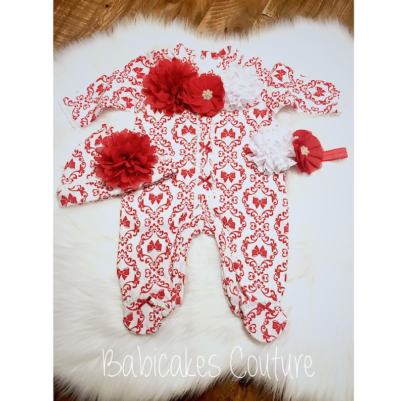 c9d262002ee8 Baby s First Christmas Outfit Christmas Footed Baby