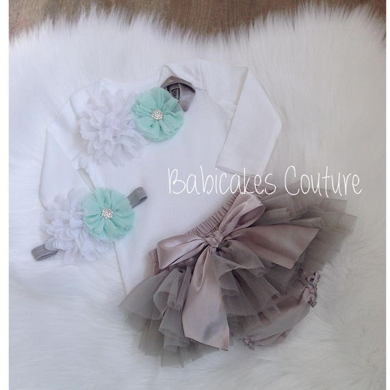 Newborn Girl Take Home Outfit Mint and Gray Baby Outfit  bdfafbd0fe