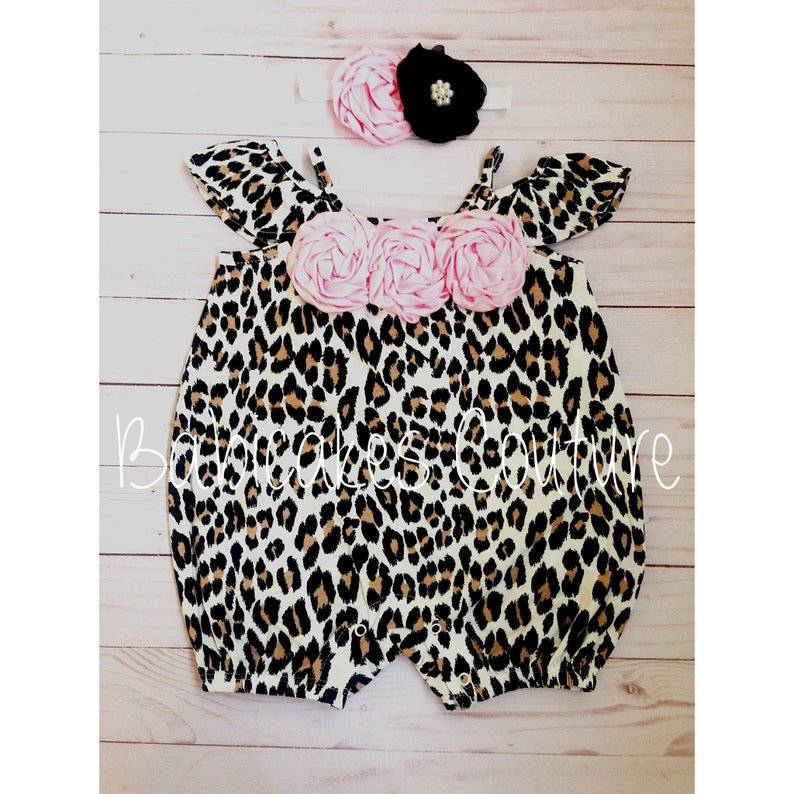 b689bb543a17 Newborn Baby Girl Outfit Leopard Baby Romper Leopard Bubble