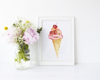 Ice-Cream Art Print - ice-cream - ice cream sundae - art print - housewarming gift - ideal for ice-cream lovers