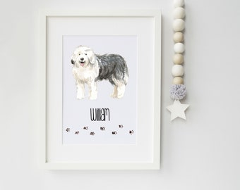 Old English Sheepdog Portrait - Ideal Gift for Dog Lovers - Old English Sheepdog owner gift - Old English Sheepdog Print - Old English