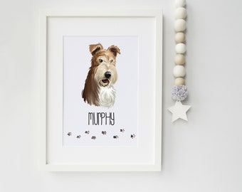 Wire Haired Fox Terrier Dog Portrait - Ideal Gift for Dog Lovers - Wire Haired Fox Terrier owner gift - Wire Haired Fox Terrier Print