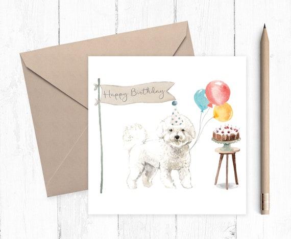 Carte D/'anniversaire Pour Garçons Hommes Filles Femmes Unisexe à partir ou BICHON FRISE DOG Lover
