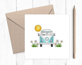 Camper Van Blank Greeting Card - greeting card - VW Camper Van - caravan - motorhome - Camper Van card - ideal for camper van lovers