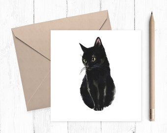Black Cat Greeting Card - black cat - black kitten - lucky black cat - cat birthday card - good luck card - ideal for cat lovers - cat lady