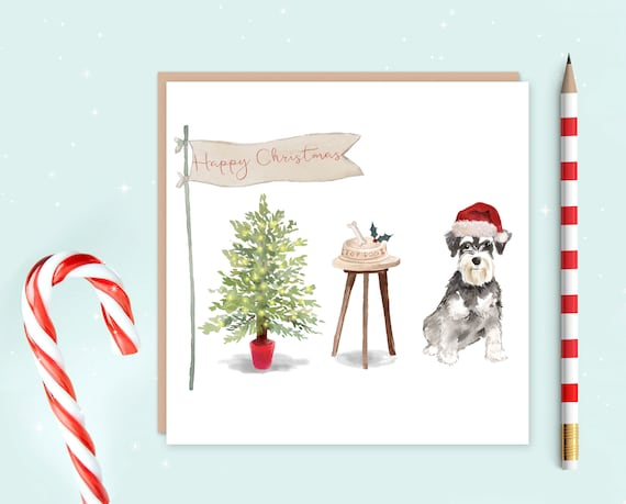 SCHNAUZER DOG CHRISTMAS CARD WITH HAT WITH FESTIVE SCENE COMPLETE WITH ENVELOPE