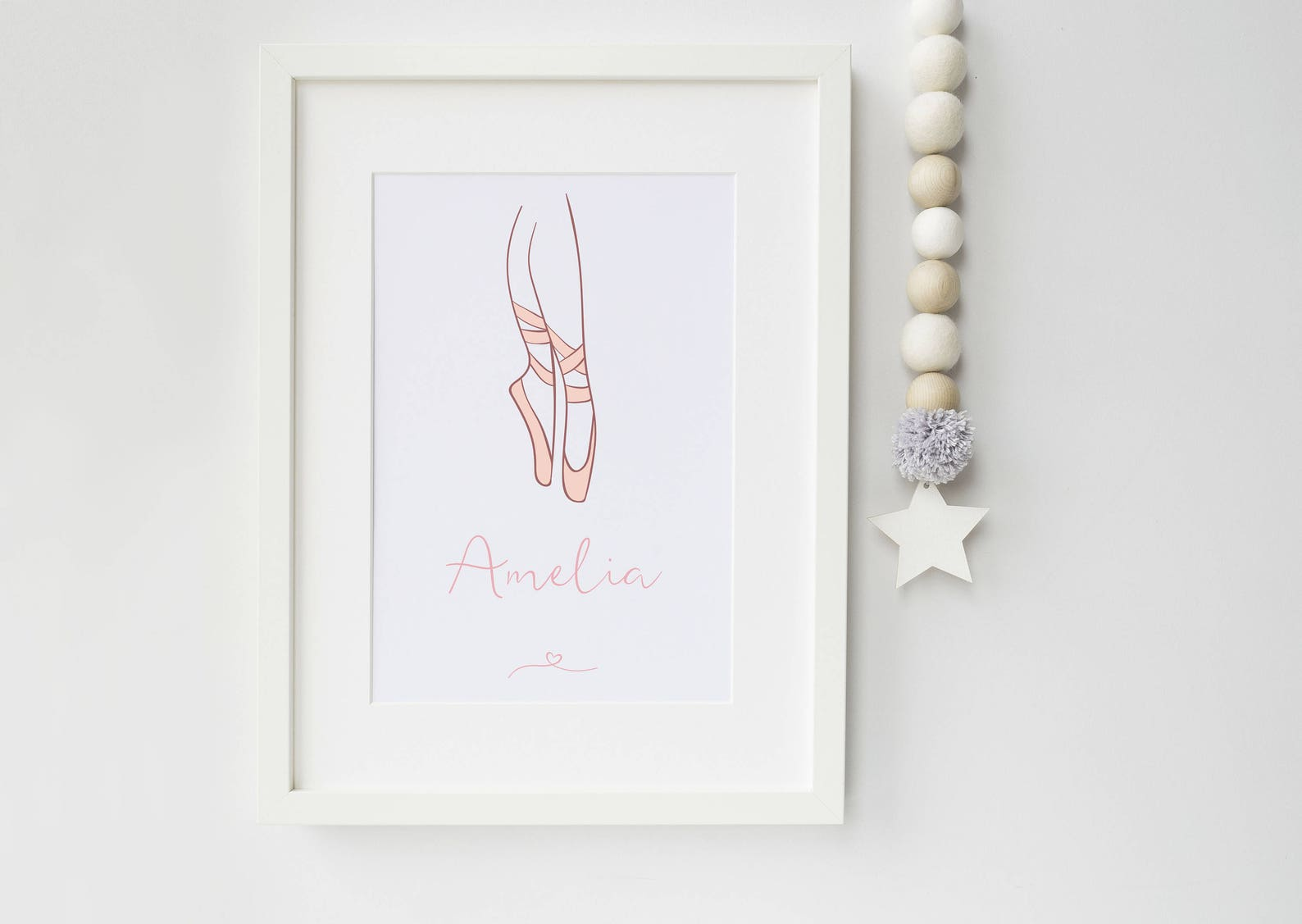ballerina pointe shoes personalised print - art print - pointe shoes - ballet - ballet print - ballerina - ideal gift for ballet