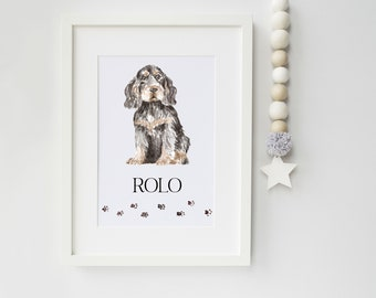 English Cocker Spaniel Dog Portrait - Ideal Christmas Gift for Dog Lovers - Personalised Cocker Spaniel Dog Portrait - secret santa gift