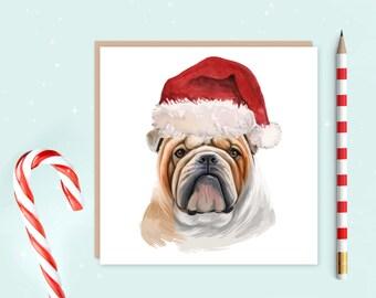 English Bulldog Christmas Card - English Bulldog Card - English Bulldog Christmas Gift - Card for dog lover - English Bulldog owner gift