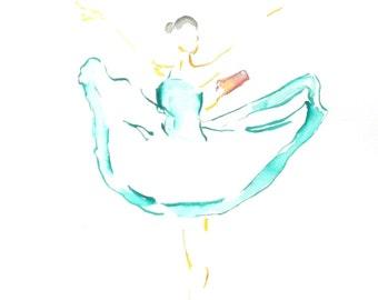 Ballerina, Art Print, Tutu, Ballet Dancer Art, Ballet, Ballet Print, Watercolors