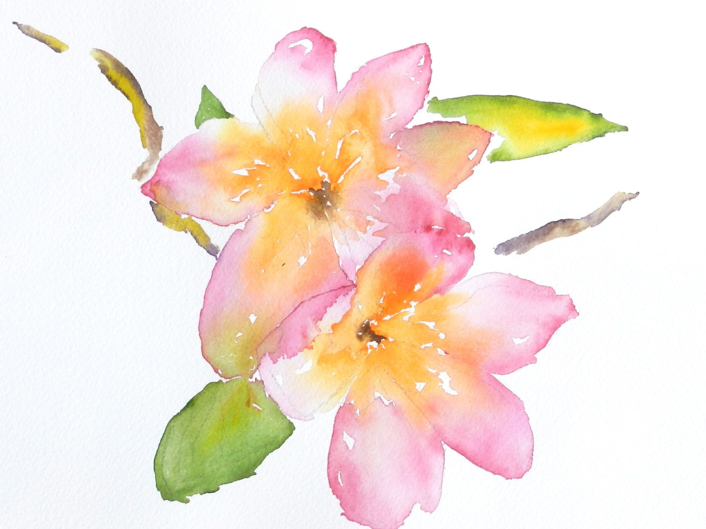 Original Watercolor Print Plumerias Hawaiian Flowers Etsy