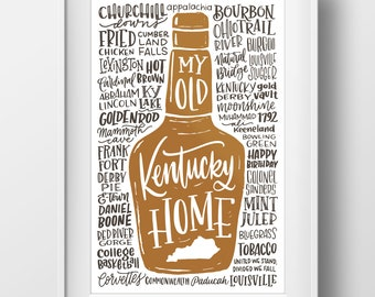 My Old Kentucky Home Bourbon Wall Art Print - 11x17