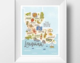 Louisiana Bayou State Map Lettering Illustration Wall Art Print - 11x14