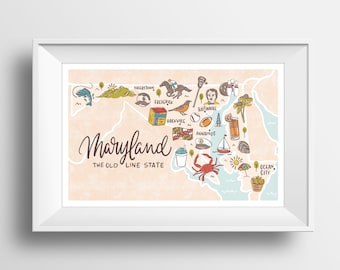Maryland State Map Lettering Illustration Wall Art Print - 11x17