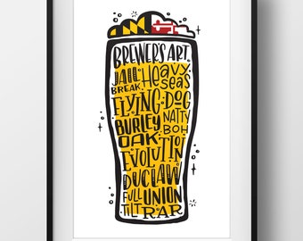 Maryland Craft Beer Lettering Wall Art Poster Print - 11x17