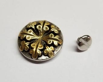 Silver and Gold Tone One Inch Concho with Flower or Leaf Motif, Screwback Concho, Screw back, Conchos, Silver Conchos, Gold Conchos