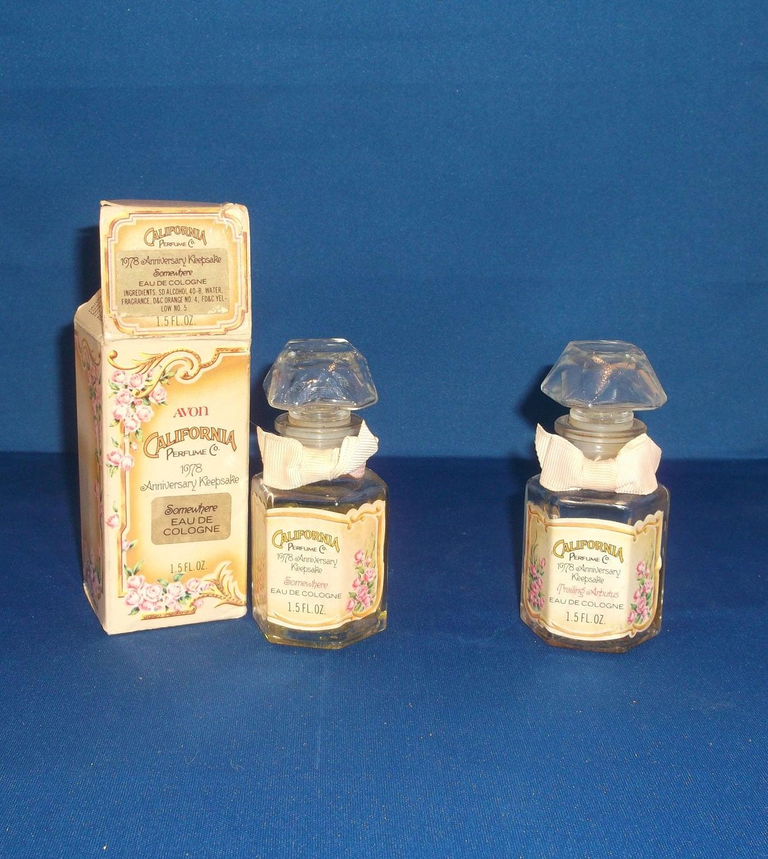 Avon California Perfume 1978 Anniversary Keepsake, Somewhere eau de  cologne, Trailing Arbulus Vintage Cologne Bottle, Decanter