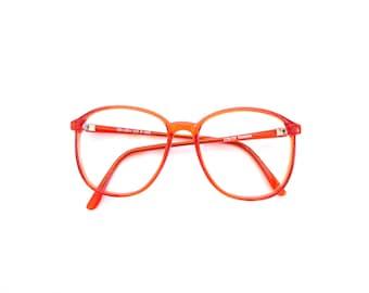 Red Glasses Frames. Vintage 80s Oversize Women's Eyeglasses
