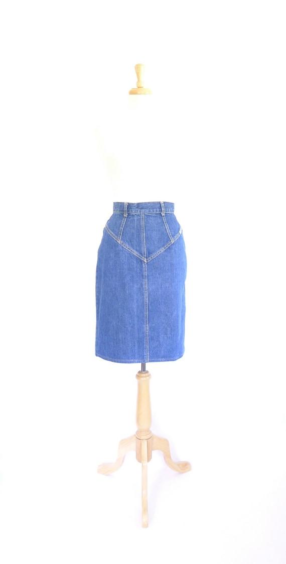 Vintage 80s Denim Pencil Skirt 28 Goldie
