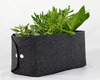 Flower Pot, CD Storage Basket, Felt Storage, Felt CD Basket, CD Storage  Box, Cd Storage Bin, Charcoal Ash Dark Gray Felt Bin, Housewarming