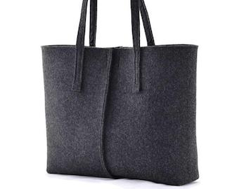 Charcoal minimalist felt handbag, Tote big Size Felt Bag, handbag felted modern, anthracite shopping bag, shoulder bag, minimalist handbag,