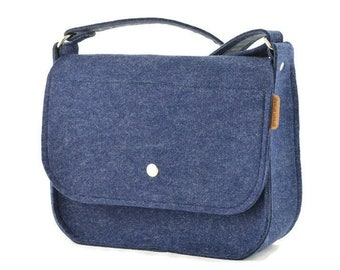 Green Blue and Grey Phone-size Bag Hand Knit Felted Crossbody Bag Small Green and Blue Phone Bag Cell Phone Carrier Handmade Felt Purse